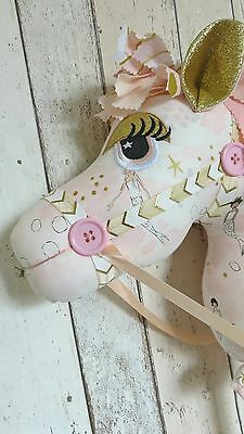 Childrens Hobby Horse - Pink & Gold Mermaids - Whimsical - Ce Mark