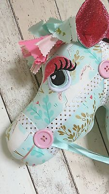Childrens Hobby Horse - Unicorn Theme - Mint Green & Gold - Whimsical - Ce Mark