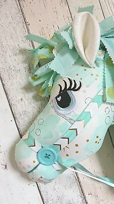 Childrens Hobby Horse - Mermaid Theme - Mint Green & Gold - Whimsical - Ce Mark
