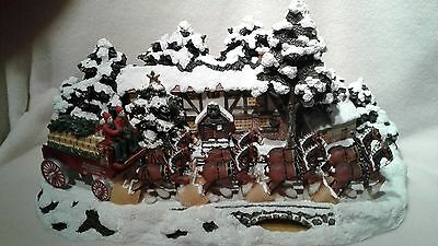 Budweiser CLYD15 Sculpted Clydesdale Holiday Scene Figurine