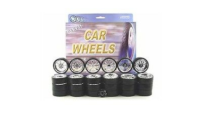 Chrome Replacement Wheels & Tires Set Rims For 1/18 Scale Cars And Trucks 2004