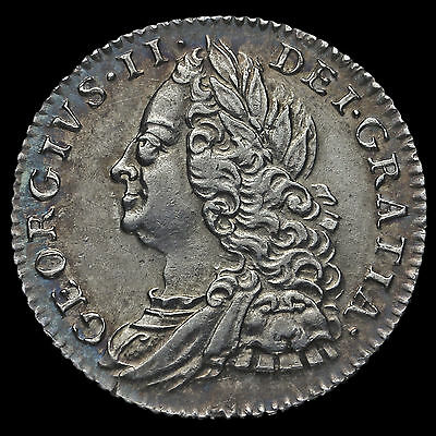 1758 George II Early Milled Silver Sixpence, G/EF