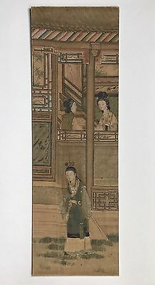 An Antique Chinese Watercolor Painting On Silk Of Dream Of The Red Chamber