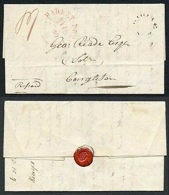 1840 (May 15) entire letter to Congleton with a fair strike of the rare Woore F
