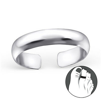 925 Sterling Silver Toe Ring Simple Plain Band Adjustable Body Jewellery