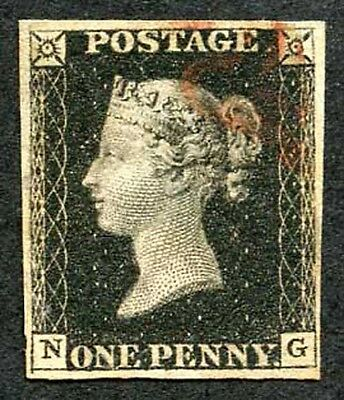 Penny Black (NG) Plate 5 Clear Profile Four Margins