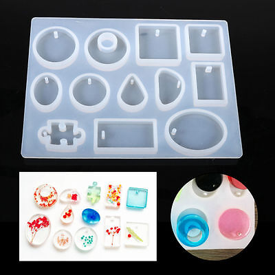 12 Shapes Silicone Mold Epoxy Resin Jewelry Pendant Making Handcrafts Soap DIY Q
