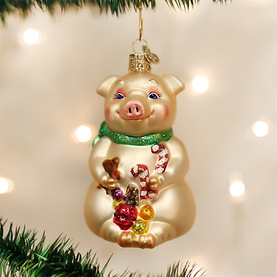 Old World Christmas Lester The Pig Glass Christmas Ornament 10212