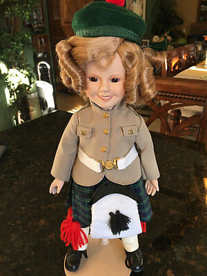 """Shirley Temple Danbury Mint 14"""" Porcelain Doll with Stand - Wee Willie Winkie"""