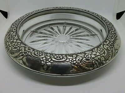 Vintage Whiting Sterling Silver & Glass Wine Bottle Coaster or Master Ashtray