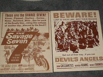 2 Motorcycle Movie 11 x 14 Lobby Cards Posters The Savage Seven/Devil's Angels