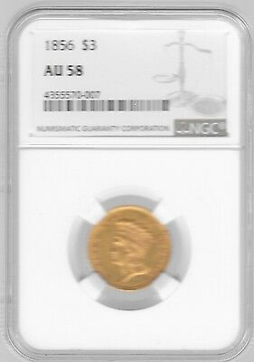 1856 $3 Indian Princess Head, - Ngc Au58, Very Rare Date, Only 26,010 Minted