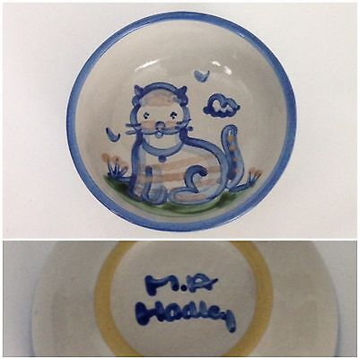 """M.A. Hadley Blue Cat Country Scene 5 1/4"""" Cereal Bowl Pottery Kitty Kitten"""