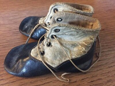Antique Pair Victorian Leather Baby Boot Shoes Lace Up Vintage Rare