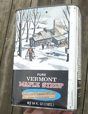 VINTAGE 1970's PURE VERMONT MAPLE SYRUP Metal Advertising Tin Graphic With Horse