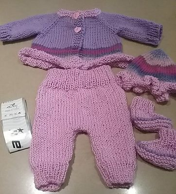 Premmie/twins  hand knitted baby clothes or to fit reborn doll.