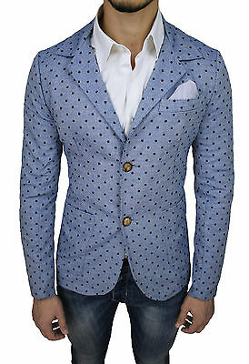 Giacca Uomo Diamond Slim Fit Aderente 100% Made In Italy Celeste Casual A Pois
