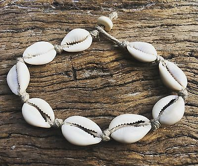 Hand Made Hemp Anklet with Cowrie Shells, Medium Ankle Sea Gypsy Bohemian