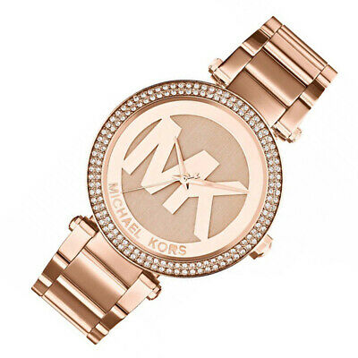 100% New Michael Kors Women's Parker Rose Gold-Tone Logo 45mm Watch MK5865