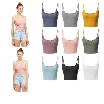 375724e439 FashionOutfit Women Basic Solid Sleeveless Ribbed Spaghetti Strap Crop Tank  Top