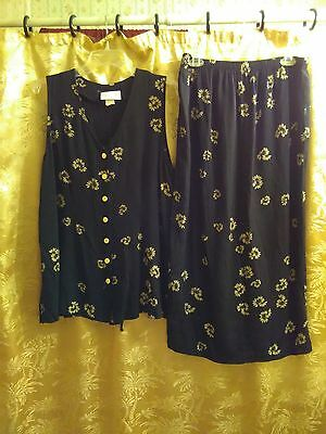 Black With Beige Florals Maternity Top And Skirt Size Medium/Large
