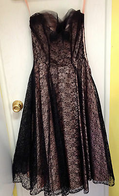 Vintage 50's Lorrie Deb Prom Party Dress Strapless Black Lace over Pink