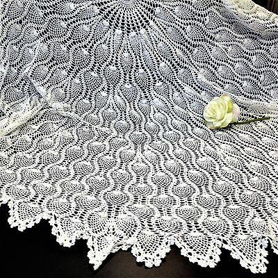 Hand crafted Vintage - White Cotton Crochet Lace - 162cm Round Table Cloth