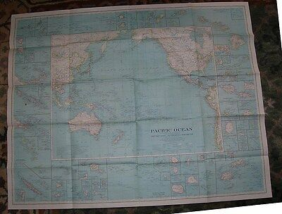 1936 vintage National Geographic magazine map of Pacific Ocean  39 x 31 inches
