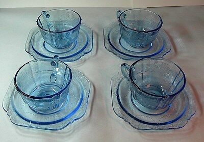 4 sets blue Madrid CUP & SAUCERS 70's Recollections pattern Indiana glass