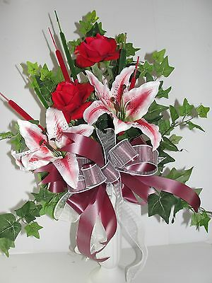 Red Rose Stargazer Lily Ivy push in ground Grave Vase Flower Cemetery Headstone