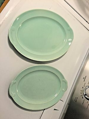 """Set of 2 Vintage TS&T LuRay Pastel 13.5"""" and 11.75"""" Green Mint Oval Platter"""
