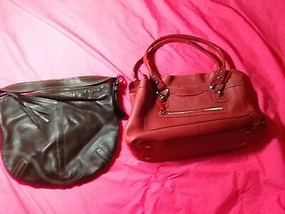 Coach lot of 2 leather large brown/coral colored shoulder bags