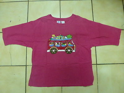 VINTAGE ETHNIC GUATEMALA  BLOUSE Embroidered TOP Hot Pink UNIQUE huipil Size M