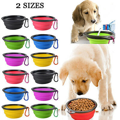 Pet Dog Portable Silicone Collapsible Feeding Bowl Food Water Dish Feeder Buckle