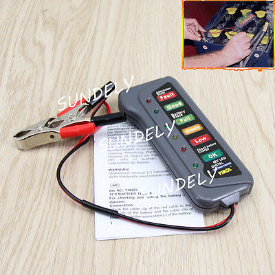 12V Digital Battery Alternator Tester 6LED Volt Check F Car Motorcycle Universal