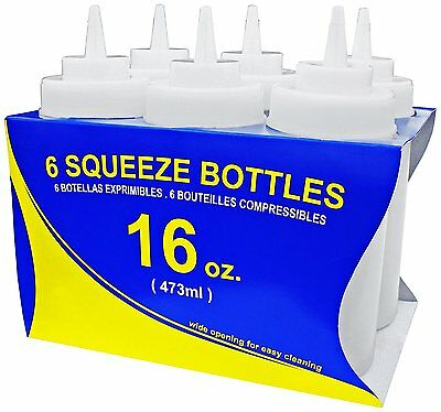 Star Foodservice 26177 Plastic Wide Mouth Squeeze Bottles, 16-Ounce, Set of 6,