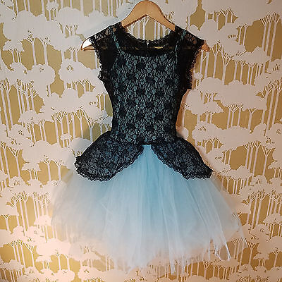Revolution Dancewear Baby Blue With Black Lace Ballet Tutu Leotard Size SA Small