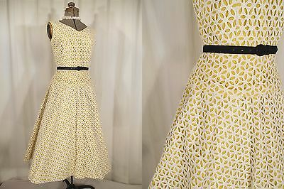 VTG 1950s 50s Day Dress Yellow White Lace Rockabilly Dress Circle Skirt Small Sm