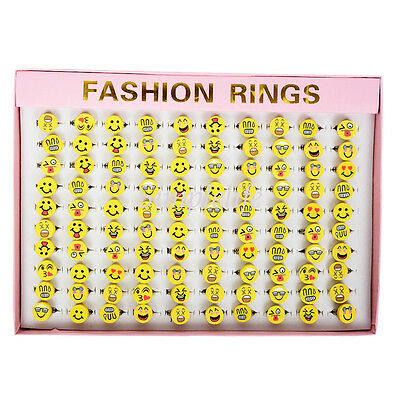 20pcs Cute Girl Emoji Smile Emoticons Cabochon Rings Jewelry Wholesale Funny