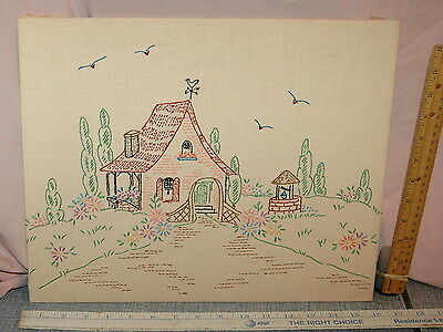 30s Embroidered Country Cottage Weather Vane Wishing Well Vtg Embroidery Picture