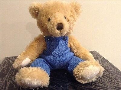 hand knitted teddy bear clothes, dungarees for a 30cm bear