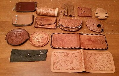 14 Vintage Tooled Etched Leather Wallet Coin Key Purse Lot Estate Cowhide retro