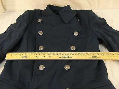 REGULATION USAF Air Force Cadet 46 Medium Regular Pure Wool Blue Black Overcoat