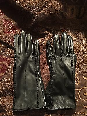 Black leather Women's Ladies Gloves NEW Cashmere Lined