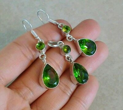 Natural Faceted Green Peridot 925 Sterling Silver Pendant Earrings Jewelry Set
