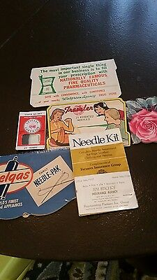 6 Vintage Sewing Needle Packets With Advertising