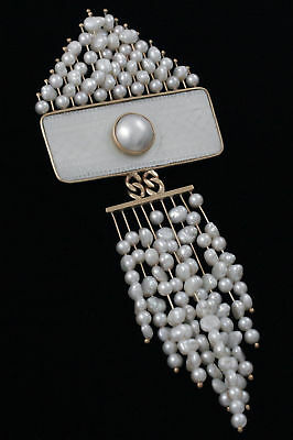 Estate 14k Gold & Pearl Donna Chambers Pin/Pendant