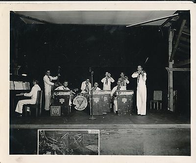 1944 WWII Seabees 125th NCB The Rebels Band playing Hawaii 4x5 Photo