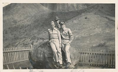 1940s Schofield Soldiers Photo  3 soldiers at sacrificial rock