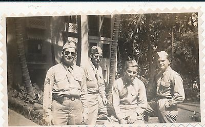 WWII Feb 1945 4 ID's soldiers in front Royal Hawaiian Hotel photo